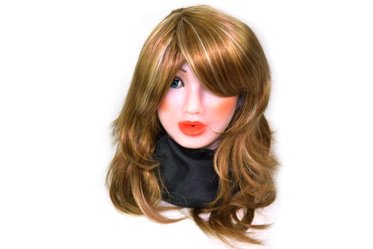 Stepped longhair wig honey blond.